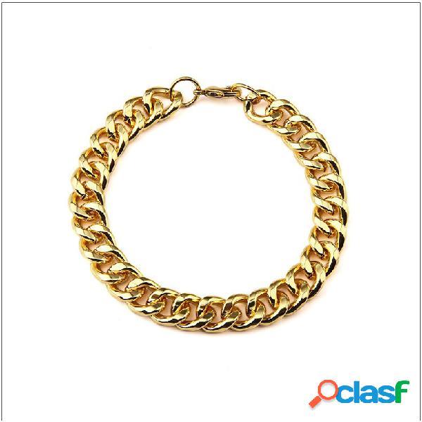 Pulsera de moda de acero inoxidable con brazalete en forma de espejo para hombres pulsera de oro