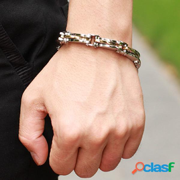 Pulsera de diamantes geométricos estereoscópicos de moda pulsera de cadena de acero de titanio