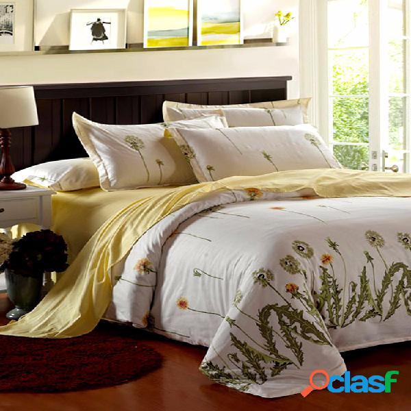 4 piezas diente de león edredón funda de edredón juego de cama almohada de dormitorio caso decoración individual doble rey