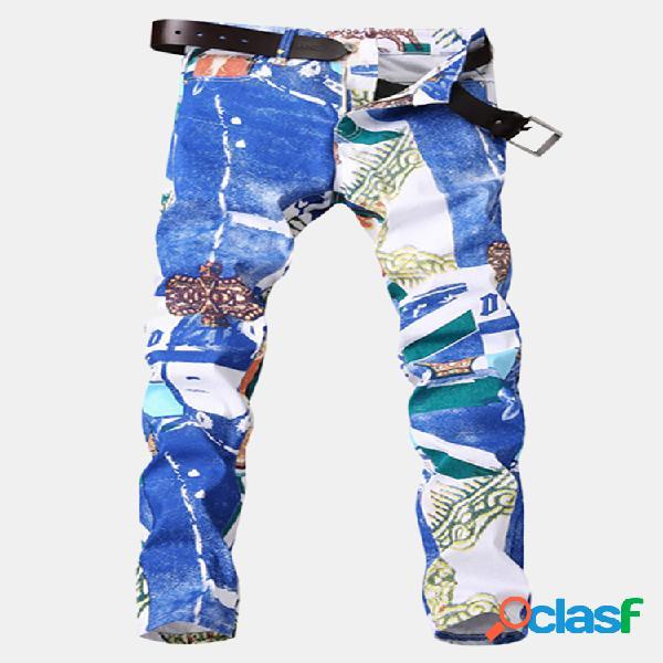 Biker white printing elastic delgado elegante jeans para hombre