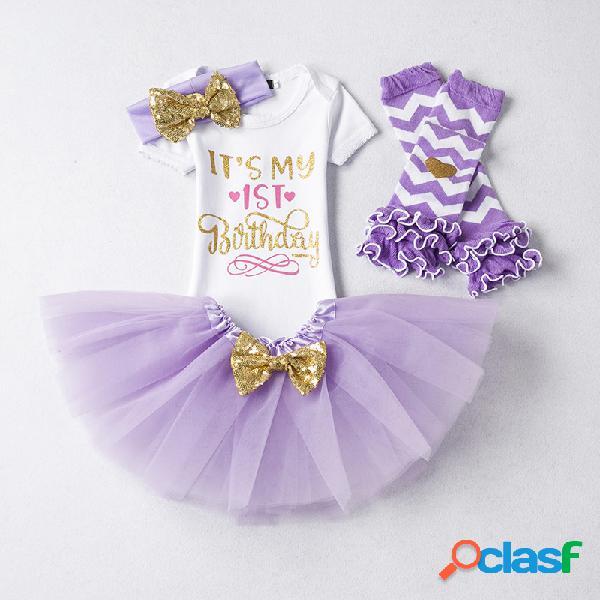4 piezas es mi primer primer conjunto de ropa de fiesta para niñas de cumpleaños para 0-18 m