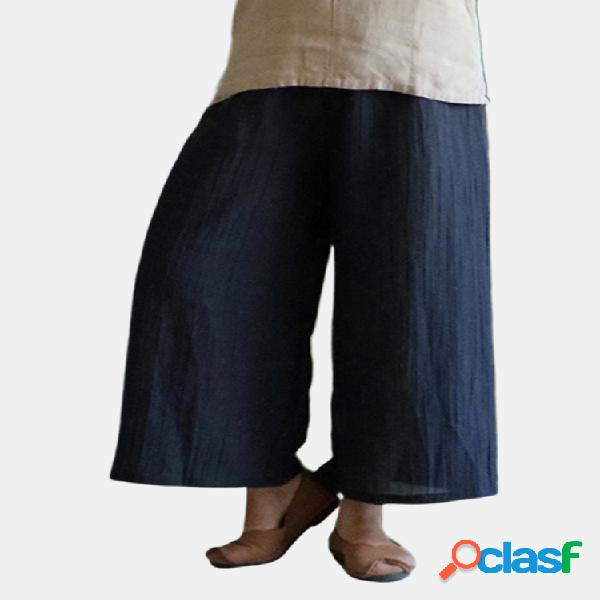 Pantalón vintage amplio monocolor