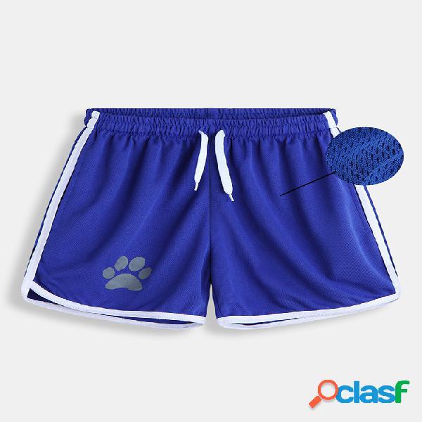 Pantalones cortos con estampado de pata de malla para hombre playa pantalones cortos deportivos de secado rápido cordón corto con bolsillos