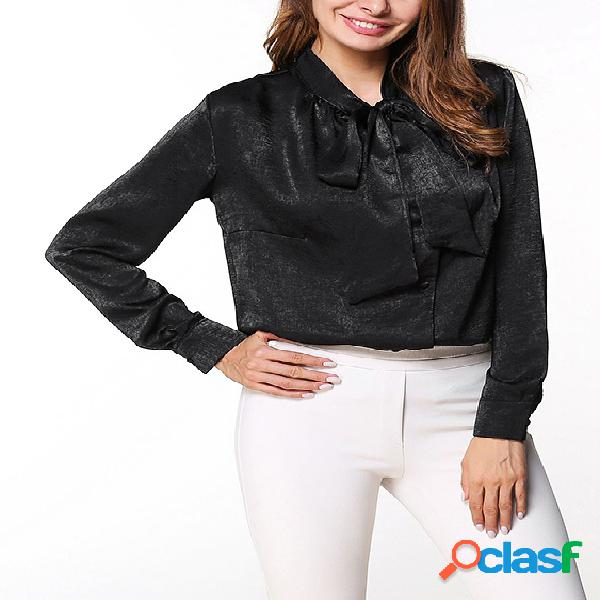 Blusas de manga larga con diseño de lazo negro