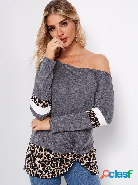 Color block leopard un hombro manga larga camisetas con dobladillo anudado