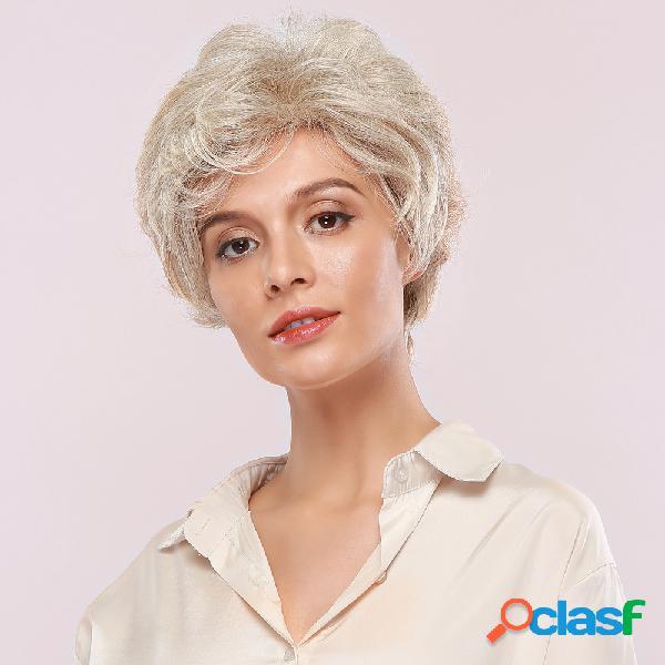 8 inch oro blanco humano cabello pelucas textura natural mullido transpirable corto rizado cabello peluca