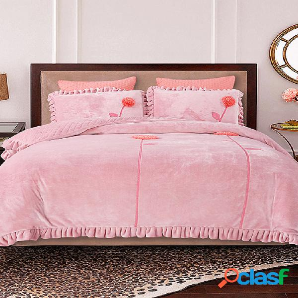 3 piezas de invierno de felpa gruesa ropa de cama cálida cubierta de edredón cálido grueso edredón de terciopelo de cristal