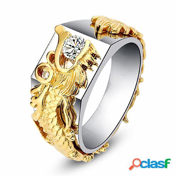 Anillo de lujo de oro dragón para hombres, anillos de diamantes chapados en oro de 18 k para hombres