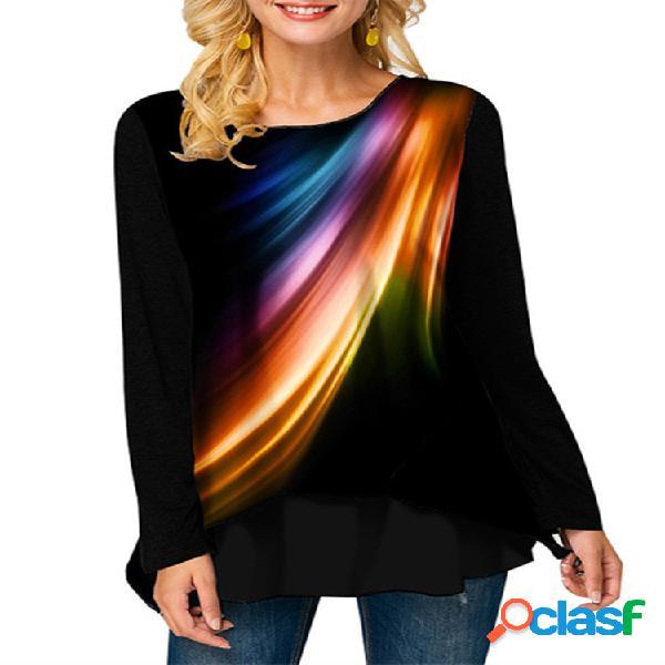 Mujer estampado redondo cuello blusas sueltas de manga larga