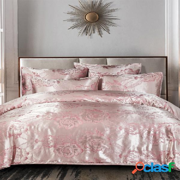 3 piezas rosa juego de cama de satén floral dormitorio en casa soft funda nórdica fundas de almohada tamaño queen rey completo