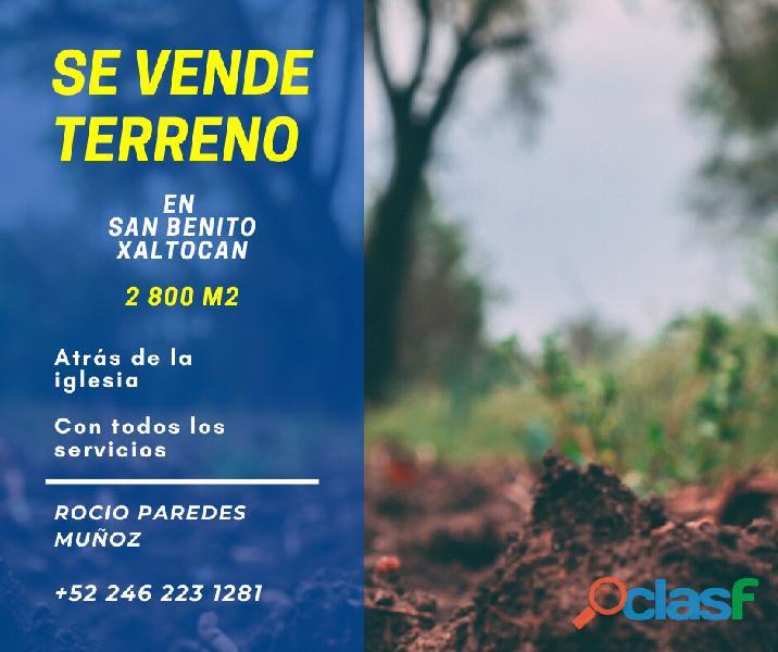 **TERRENO EN SAN BENITO, XALTOCAN 2800 M2**