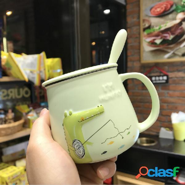 Cerámico taza de cocodrilo de dinosaurio de dibujos animados con cuchara de tapa taza de leche de desayuno para niños
