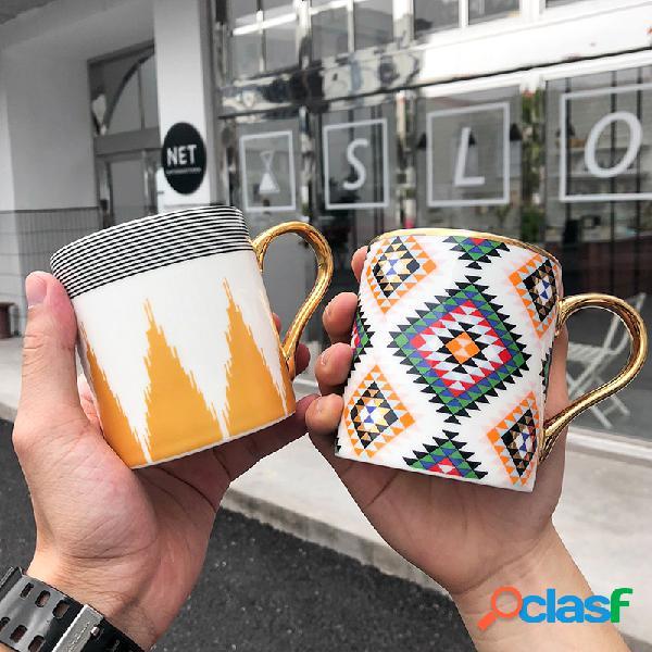 Cerámico taza de mango dorado taza de café, leche y agua oficina comercial boda regalo