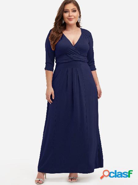 Vestido maxi con pliegues azul marino de talla grande