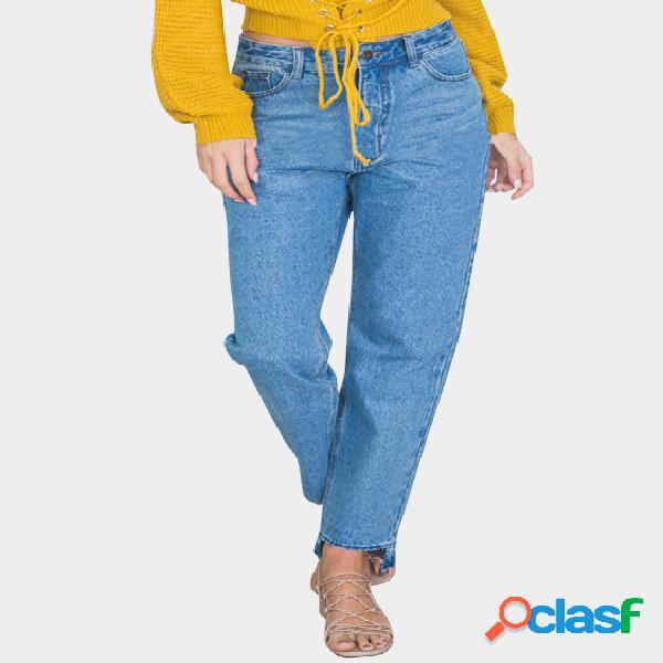 Azul clásico cinco bolsillos dobladillo asimétrico casual denim jeans