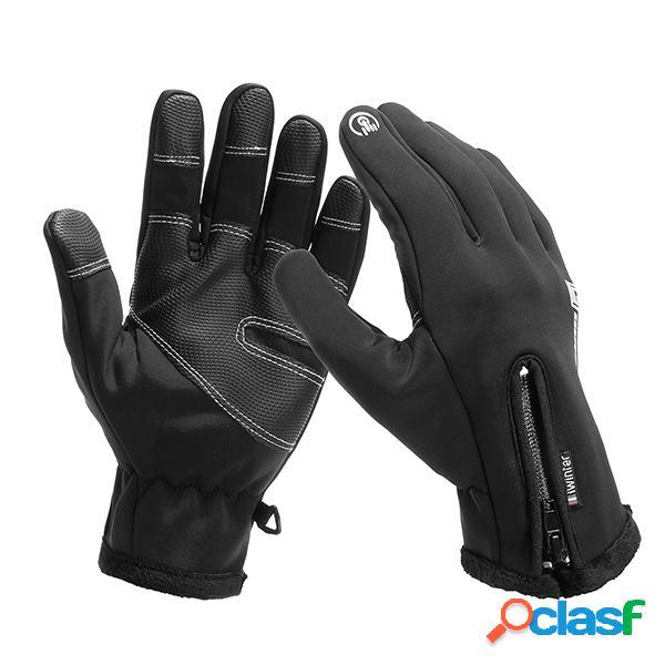 Guantes de ciclismo de lana para hombre con pantalla táctil táctil guantes de esquí impermeables a prueba de viento de dedo completo