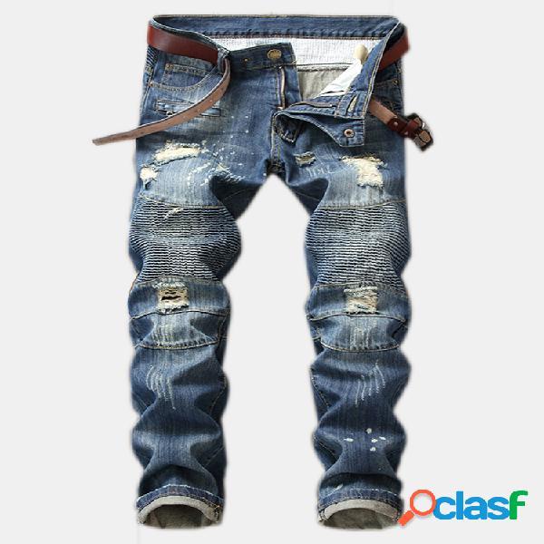 Agujero jeans recto fold slim jeans pantalones nostálgicos para hombres
