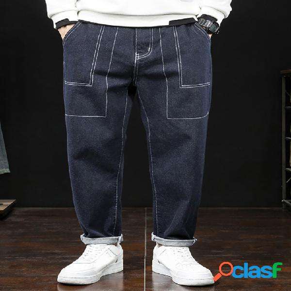 Hombre amekaji style solid casual jeans