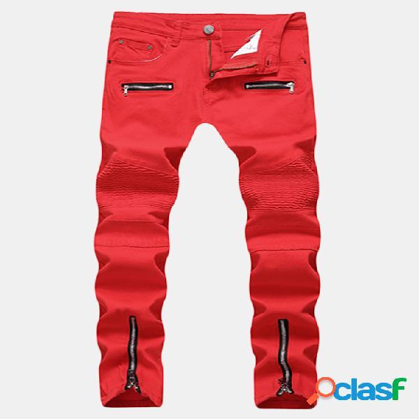 Negocios con estilo casual recta cremallera plegar slim fit jeans para hombres