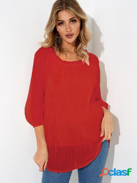 Blusa de manga larga con cuello redondo de diseño redondo rojo