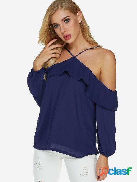 Blusa de manga larga con diseño de hombros fríos sin espalda azul con detalles volados
