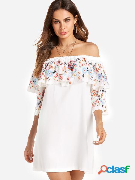 Diseño de capas blancas al azar impresión floral de la mini vestido de hombro