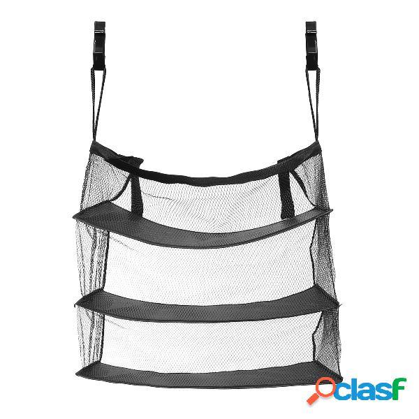 3 capas portátil bolsa de almacenamiento de viaje gancho colgante de nylon bolsa de malla de almacenamiento + ganchos