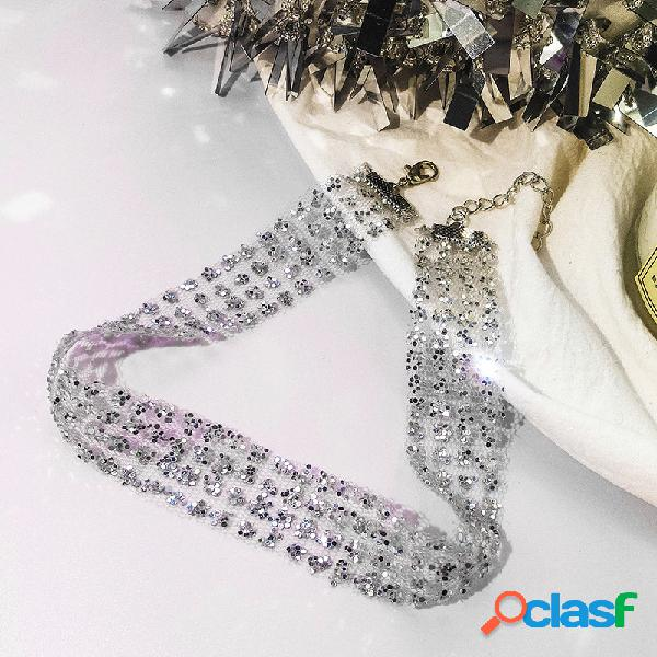Moda gargantilla collar granadina mental paillette clavicalis collar joyería de moda para mujer