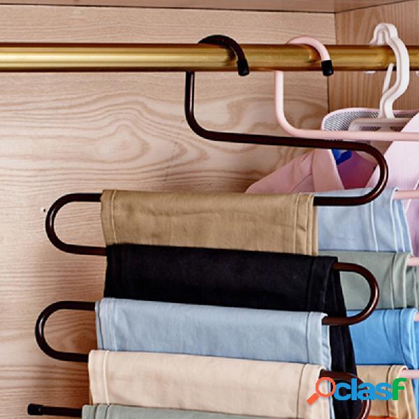 Pantalón de hierro multifunción tipo s rack multi-capa antideslizante pantalones clip hombres y mujer modelos percha