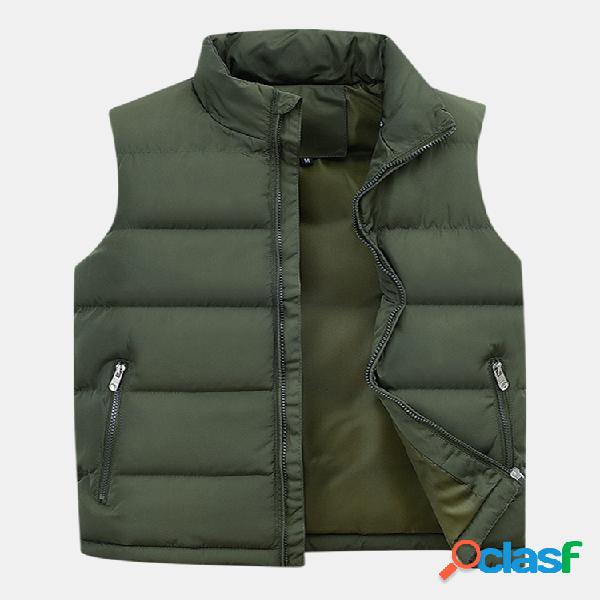 Pantalón corto para hombre espesar cálidos y seguros bolsillos con cremallera cuello alto color sólido casual chaleco de plumas