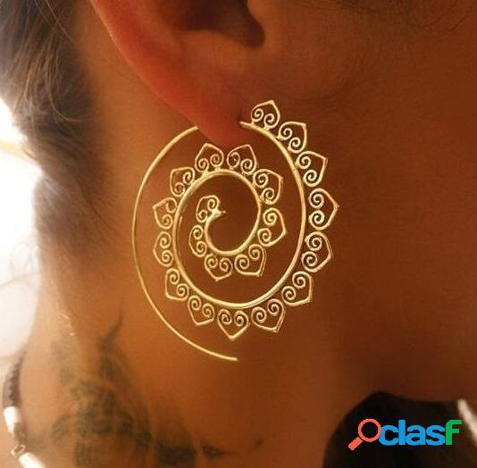 Moda espiral pendientes retro en forma de corazón pendientes engranaje exagerado mujer pendientes