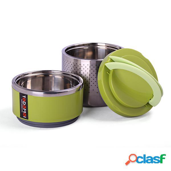 1/2 capas de largo tiempo aislados térmicos almuerzo caja de acero inoxidable vacío bento contenedor de almacenamiento de alimentos