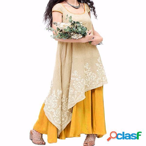 Vestido largo retro floral bordado sin manga de dos capas