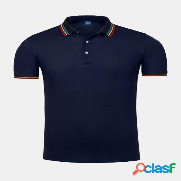 Hombre casual business color sólido soft golf de punto camisa manga corta t camisas