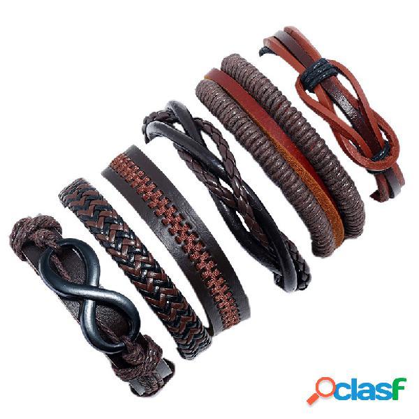Pulsera retro de múltiples capas tejida soft pulsera de cuero 6 piezas vendimia pulsera de hombre