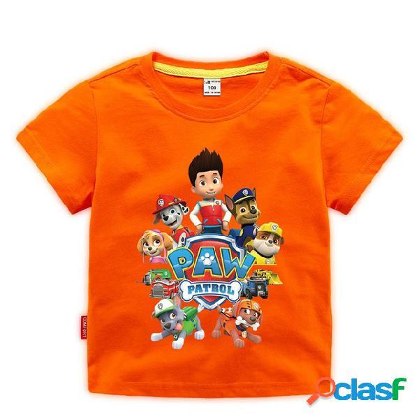 Ropa para niños, niños, niños, niños, patrón de dibujos animados, algodón estampado, cuello redondo, camiseta de manga corta