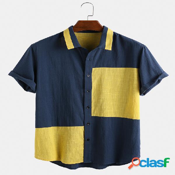 Hombre 100% algodón color block hit color colar newchic unique diseño camisa