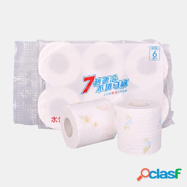 6 rollos de impresión papel higiénico instantáneo de 7 segundos papel higiénico hotel soft pasta de madera hidratada papel higiénico