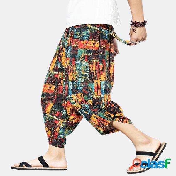 Hombre 95% algodón color block color de golpe hasta la pantorrilla harem informal suelto pantalones