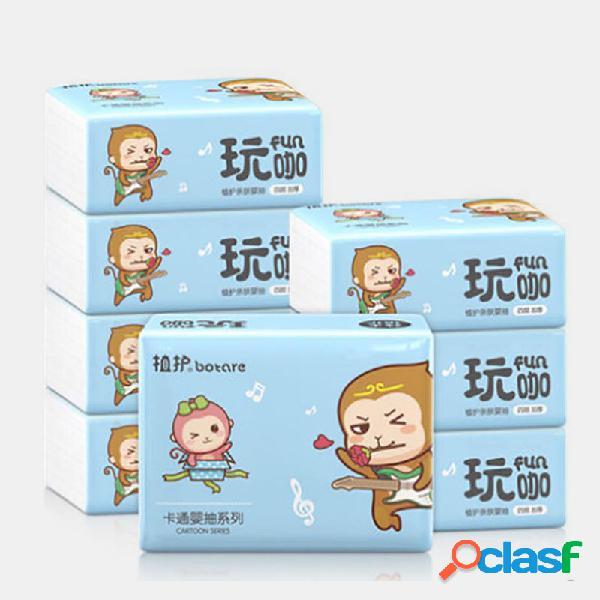 Papel de servilleta de 4 capas para el hogar 2240 hojas / 8 paquetes de papel de seda papel de servilleta de pulpa de bambú nativo