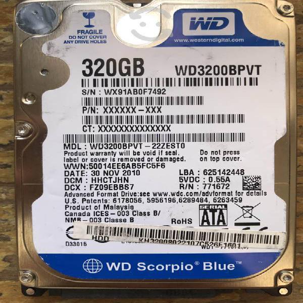Discos duros sata 2.5 320 y 500 gb