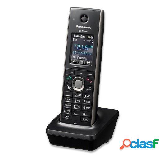 Panasonic teléfono inalámbrico dect kx-tpa60, 1 auricular, altavoz, negro