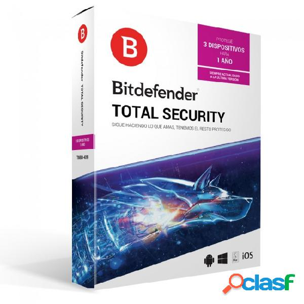 Bitdefender total security, 3 usuarios, 1 año, windows/mac/android/ios