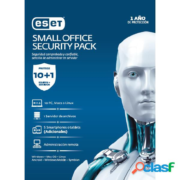 Eset small office security pack, 10 usuarios, 1 año, windows/mac/linux/android/ios