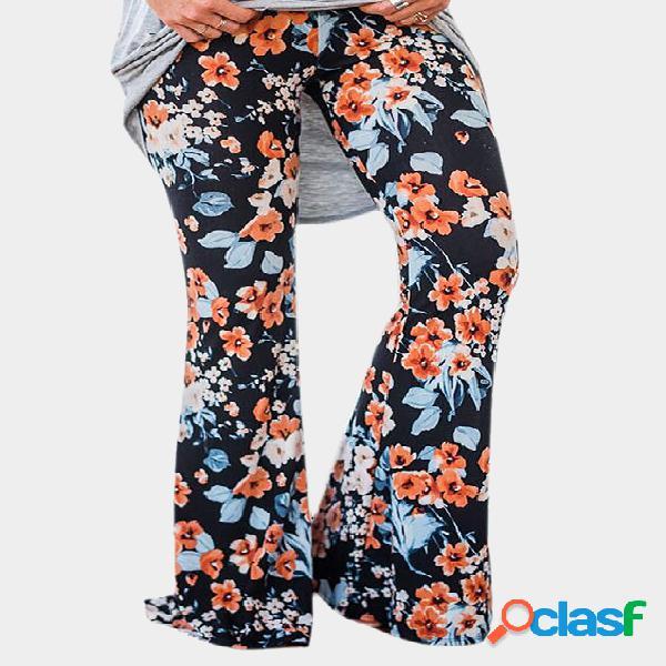 Pantalones largos con estampado floral negro