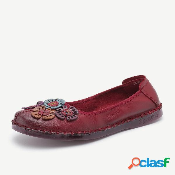 Mujer flor de cuero costura retro slip on soft zapatos planos ocasionales únicos