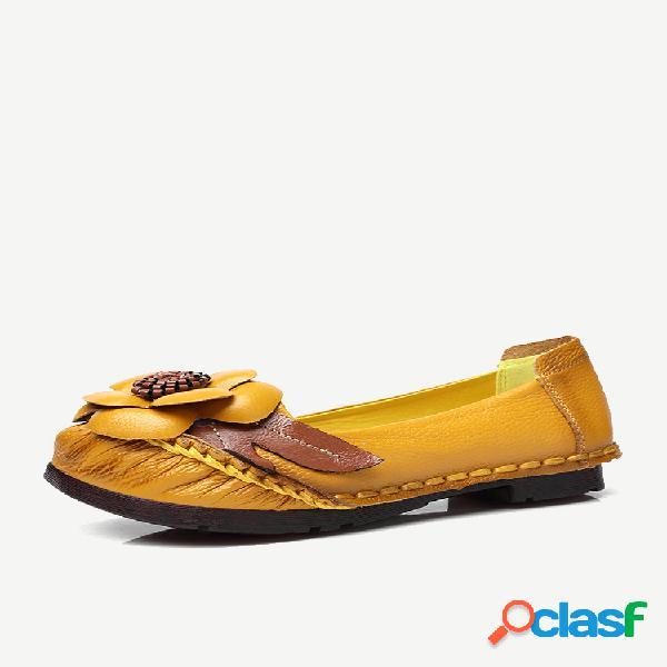 Mujer slip retro de cuero con flor en zapatos planos casuales