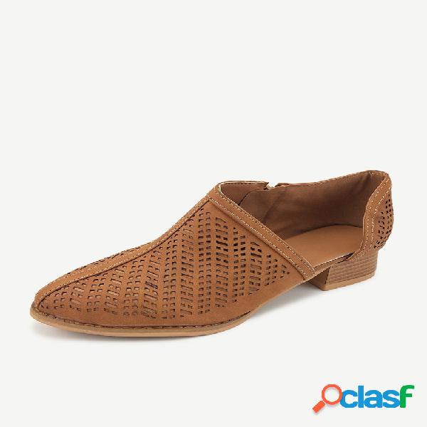 Talla grande punta de almendra ahueca hacia fuera tacón grueso lateral abierto tobillo informal botas