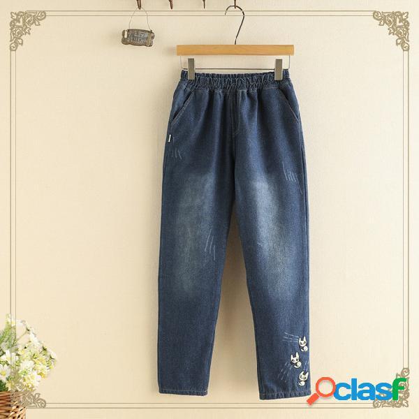 Año nuevo college wind cintura elástica pantalones pies pelea gato bordado plus jeans pantalones de mujer