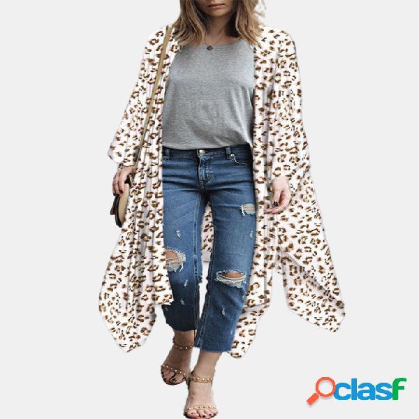 Bohemian print loose 3/4 sleeve plus talla kimono